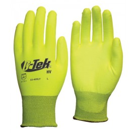 PIP 33-425LY/M G-Tek Hi Vis Seamless Knit Polyester Glove with Polyurethane Coated Smooth Grip on Palm & Fingers Medium 25 DZ