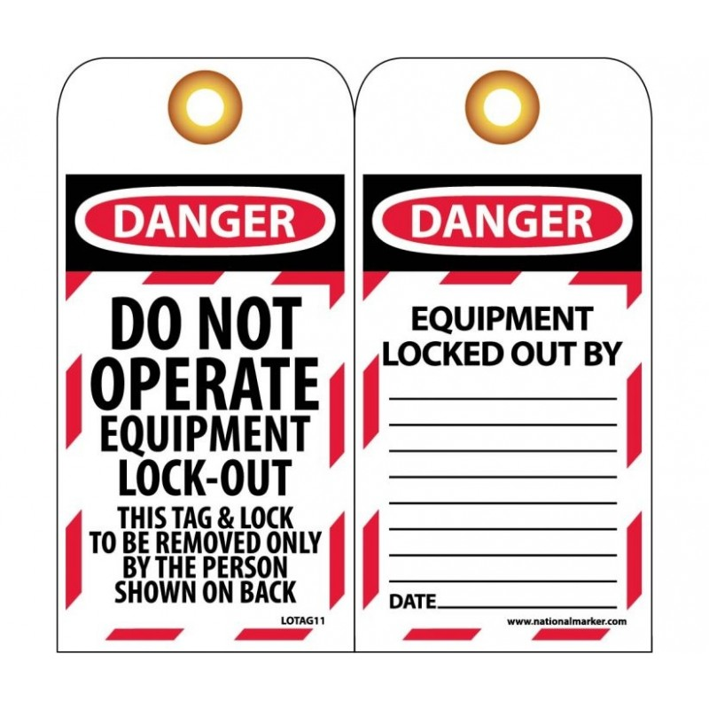 NMC LOTAG11 Danger Do Not Operate Equipment Lock-Out Tag 10/Pack
