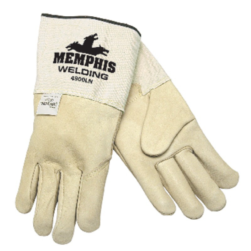 MCR Memphis Gloves Mig / Tig Premium Grain Cowhide Welders Gloves 1 Pair White Color