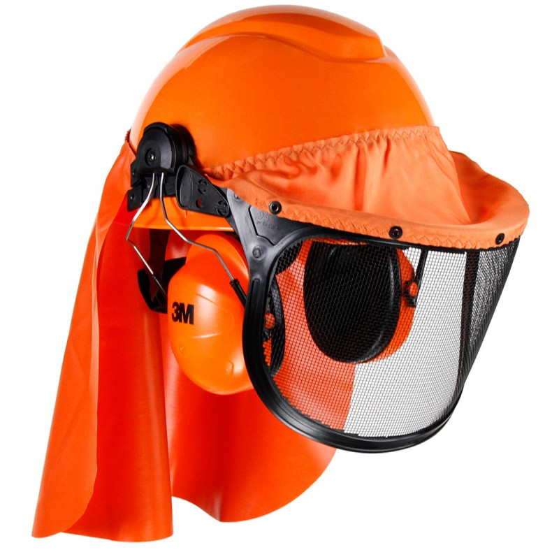 3M™ LumberJack™ Hard Hat System H-706RFK-UV, 4-Point Ratchet Suspension, Uvicator™, Mesh Visor, Rainshield, Ear Muffs