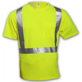 Tingley S75022.LG Class 2 T-Shirt Fluorescent Yellow-Green Short Sleeve