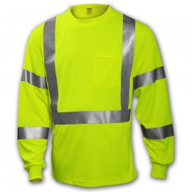Tingley S75522.3X Class 3 T-Shirt Fluorescent Yellow-Green Long Sleeve