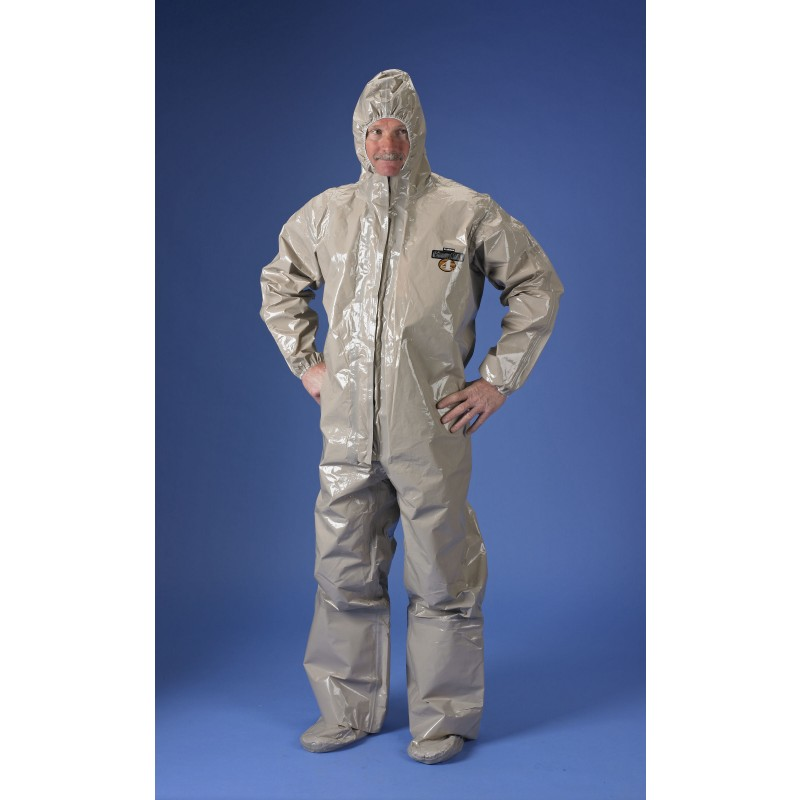 ChemMax 4 Coverall - Respirator Fit Hood, Boots & Double Storm Flap - Tan (Case of 6)