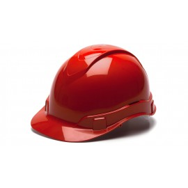 Pyramex Ridgeline Cap Style Hard Hat 4-Point Standard Glide Lock Red Color - 16 per Case