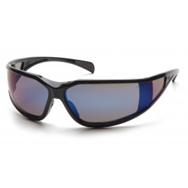 Pyramex  Exeter  Glossy Black Frame/Blue Mirror AntiFog Lens  Safety Glasses  12/BX