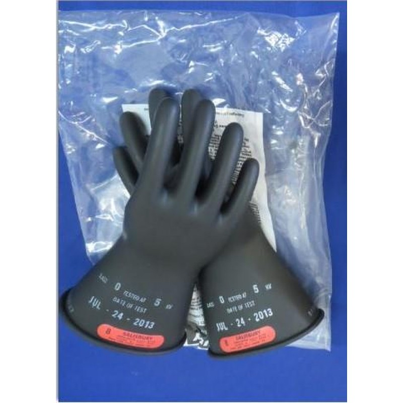 "Class 0 (1000 Max Volts) Pair Of Insulating Rubber Gloves 11"" Black"