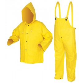 MCR 3003 Wizard Series .28mm PVC/Nylon/PVC 3 Piece Suit Detachable Hood, Snap Front Jacket & Bib Pant