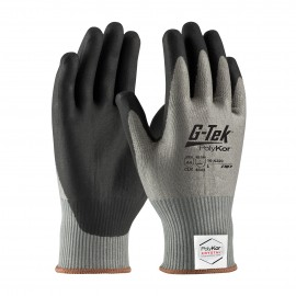 G Tek Polykor Xrystal Seamless Knit Glove  Nitrile Coated Foam Grip 13 Gauge Gray  12 Pairs