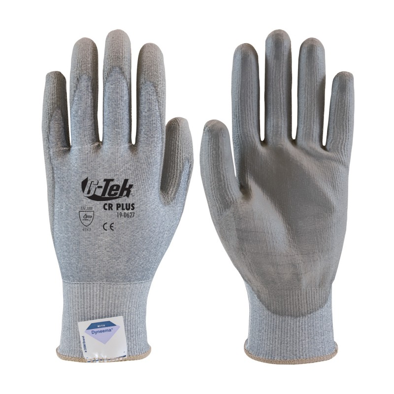 G-Tek CR Plus Seamless Knit Spun Dyneema / Nylon Glove with Polyurethane Coated Smooth Grip on Palm & Fingers