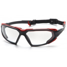Pyramex  Highlander  BlackRed Frame/Clear AntiFog Lens  Safety Glasses  12/BX