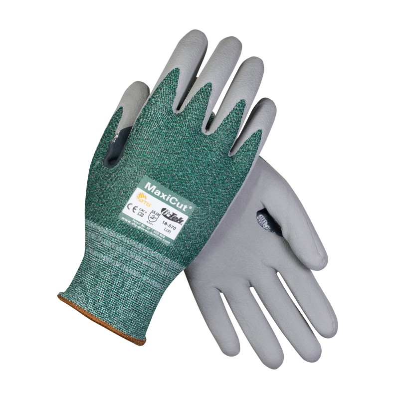PIP ATG 18-570 MaxiCut Gloves - ANSI A2 EN 3 - Nitrile Micro-Foam - Green/Gray Color (1 DZ)