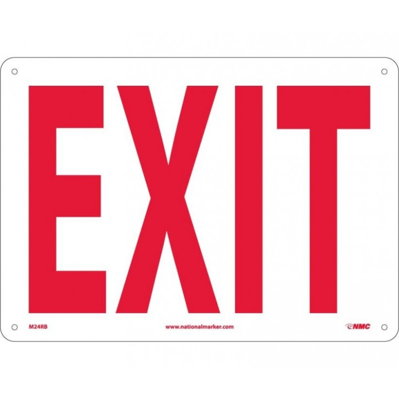 NMC M24RB Exit Sign 10x14 Rigid Plastic