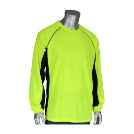 PIP Non ANSI Long sleeve Black Trim UV and Insect Protection Wicking Long Sleeve T Shirt Yellow  1 EA