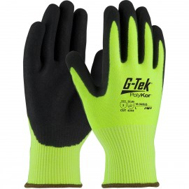 PIP G-Tek PolyKor 16-343LG Hi-Vis Seamless Glove with Nitrile Coated Micro-Surface Grip | Work Gloves | Enviro Safety Products, envirosafetyproducts.com