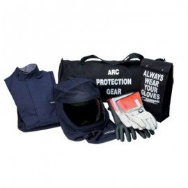 CPA Chicago Protective Apparel 43 CAL Jacket & Bib Arc Flash Kit, Navy Color Velcro Closure Solid Pattern - 1 EA