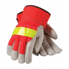 PIP® 125-458 Top Grain Pigskin Leather Palm Glove Hi-Vis Nylon Back 3M™ Thinsulate™ Liner - Rubberized Safety Cuff 6/Dozen