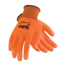 PIP 33-425OR/S G-Tek Hi Vis Seamless Knit Polyester Glove with Polyurethane Coated Smooth Grip on Palm & Fingers Small 25 DZ
