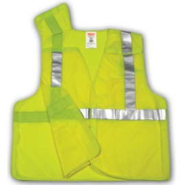Tingley V70522.2X-3X Class 2 5 Point Breakaway Vest Fluorescent Yellow-Green Polyester Mesh Hook & Loop