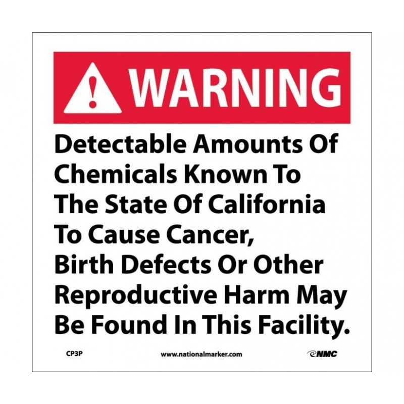 NMC CP3R Warning Detectable Amounts of Chemicals Prop 65 Sign California