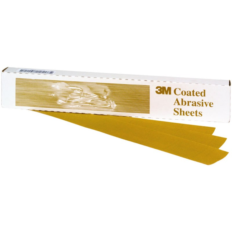 3M™ Gold Abrasive Sheet, 02551, P320 grade, 3 2/3 in x 9 in, 100 sheets per sleeve, 5 sleeves per case