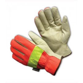 PIP® 125-468 Top Grain Pigskin Leather Palm Drivers Glove Hi-Vis Nylon Back 3M™ Thinsulate™ Liner - Open Cuff 6/DZ