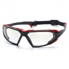 Pyramex Highlander Black-Red Frame/Clear Anti-Fog Lens (1 Box of 12)