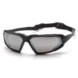 Pyramex  Highlander  Black Frame/Silver Mirror AntiFog Lens  Safety Glasses  12/BX