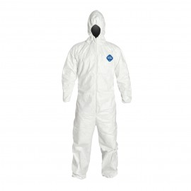 DuPont™ Tyvek TY127S White Coveralls - Attached Hood Elastic Wrists and Ankles Serged Seams (1 EA)