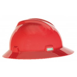 MSA Red V Gard Polyethylene Slotted Full Brim Hard Hat  Fas Trac Ratchet Suspension (1 EA)