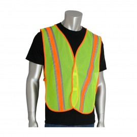 PIP Non ANSI Two Tone Mesh Safety Vest Polyester Hook and Loop closure One Size  50 / Box