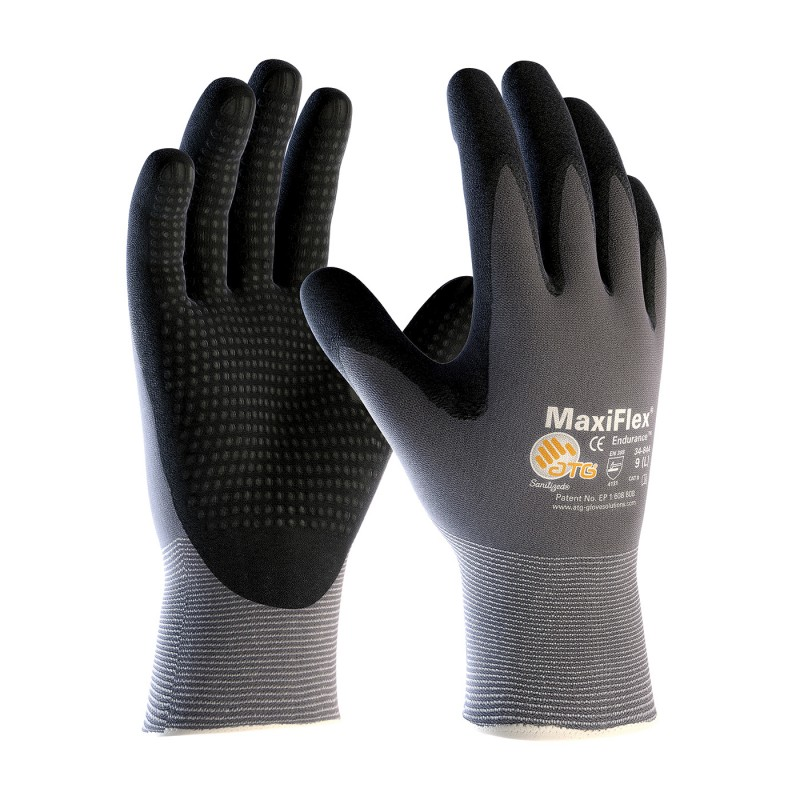 PIP 34-844/L ATG Seamless Knit Nylon Glove with Nitrile Coated MicroFoam Grip on Palm & Fingers Micro Dot Palm Large 12 DZ