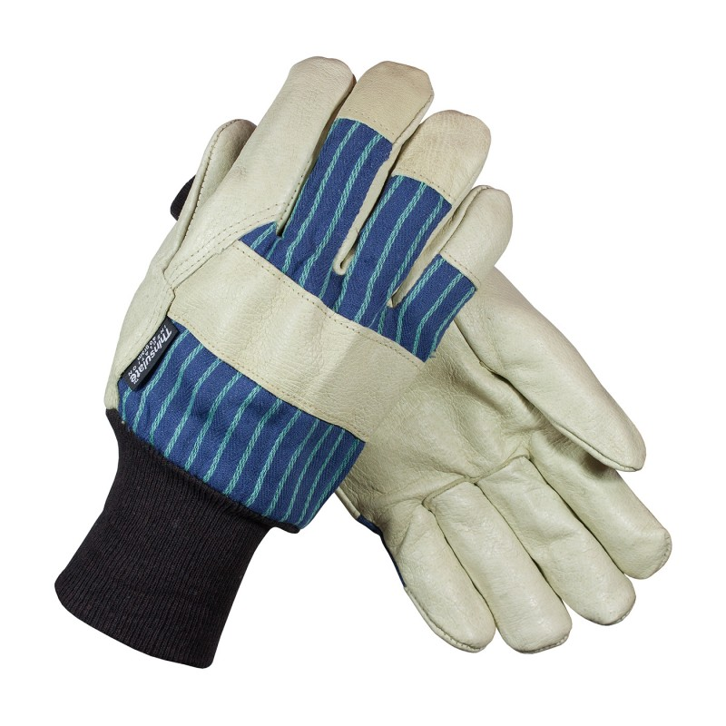 Pigskin Leather Palm Fabric Back & 3M Thinsulate Lined Glove - Knitwrist