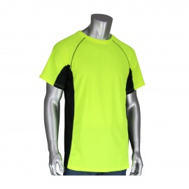 PIP Non ANSI Short Sleeve 50+ UPF Sun Protection Insect Repellent Treatment and Black Trim Wicking T Shirt Yellow  1 EA