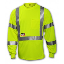 Tingley S85522.5X Class 3 FR T-Shirt Fluorescent Yellow-Green Long Sleeve