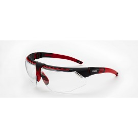 Honeywell S2860 Uvex Avatar Red/Black Frame Clear Lens Anti-Scratch Hardcoat 10/Box