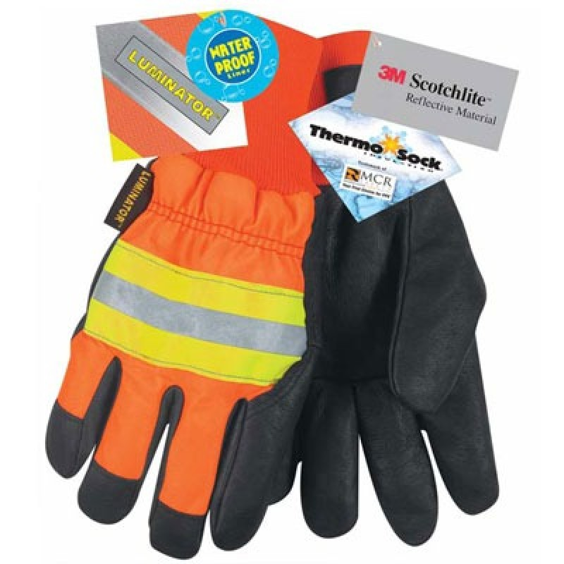 MCR Hi Vis  Luminator™, Black Grain Pigskin, Thermosock® Lining, Waterproof, Wing Thumb 12 Pairs