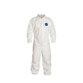 DuPont™ Tyvek TY125S White Coveralls - Elastic Wrists and Ankles Serged Seams (1 EA)
