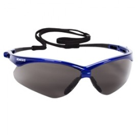 Jackson Safety V30 Nemesis Safety Glasses, Smoke Anti-Fog Lenses with Metallic Blue Frame, 12/Box