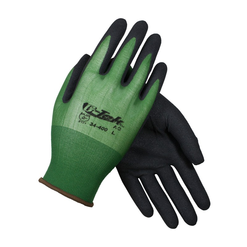 PIP 34-400/L G-Tek Seamless Knit Nylon Glove with Nitrile Coated MicroSurface Grip on Palm & Fingers 18 Gauge Large 12 DZ
