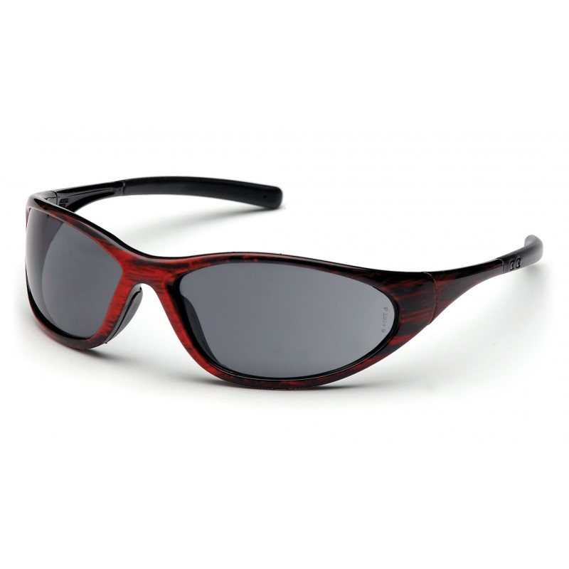 Pyramex Safety - Zone II - Red Wood Frame/Gray Lens Polycarbonate Safety Glasses - 12 / BX