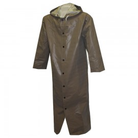 """Tingley C12168.SM Magnaprene Coat Olive Drab 48"""" Storm Fly Front Attached Hood Inner Cuffs"""