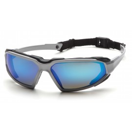 Pyramex Highlander Silver-Black Frame/Ice Blue Mirror Anti-Fog Lens