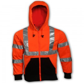 Tingley S78129.5X Class 3 Sweatshirt Fluorescent Orange-Red Hooded
