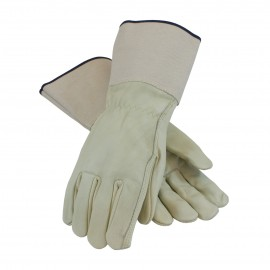 PIP®  68-101G  Superior Grade Top Grain Cowhide Leather Drivers Glove Plasticized Gauntlet Cuff - Straight Thumb 6/DZ