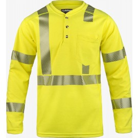 Lakeland HSAT High Performance FR Long Sleeve Henley HI-Vis Yellow