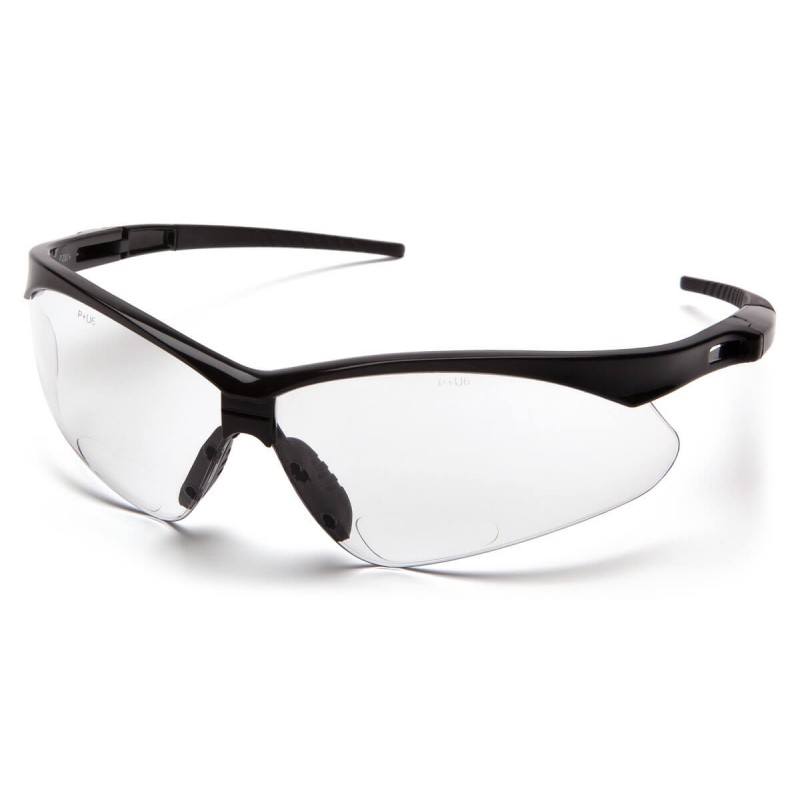 Pyramex Safety - PMXTREME Readers - Black Frame/Clear +1.5 Reader Lens with Black Cord Polycarbonate Safety Glasses - 6 / BX