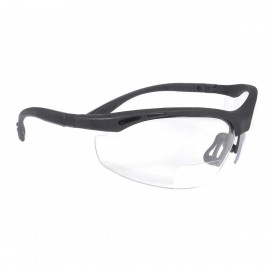 Radians Cheaters - Clear 1.0 bi-focal Safety Glasses Half Frame Style Black Color - 12 Pairs / Box