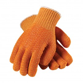 PIP Seamless Knit Double-Sided PVC Honeycomb Criss-Cross Grip Glove Color Orange 12 Pairs