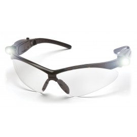 Pyramex  PMXTREME  Black frame/Clear AntiFog Lens with LED Temples  Safety Glasses  6 /BX