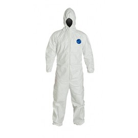 DuPont™ Tyvek TY127S White Coveralls Attached Hood Elastic Wrists and Ankles Serged Seams (1  Each)